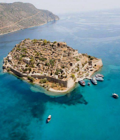 Spinalonga Island, Crete, Greece. Located in the two venus signs; the earth sign Taurus indicator of market places and the air sign Libra for morphogenetical field level 3.