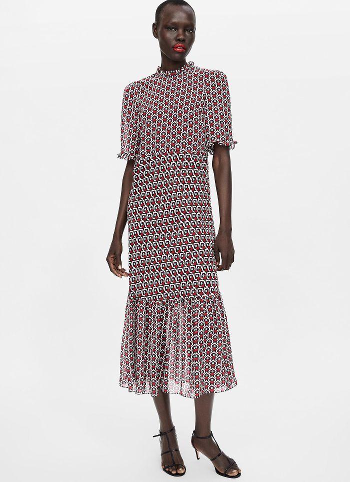 63f3194269b Zara Heart Print Midi Dress | Shopping List in 2019 | Dresses, Heart ...