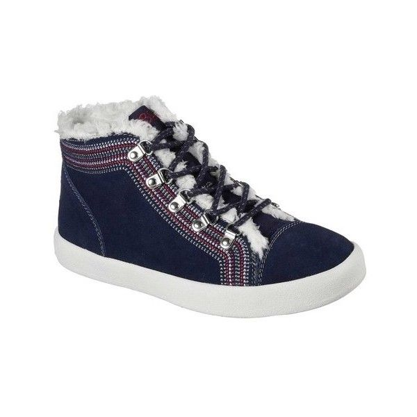 Women's Skechers BOBS B-Loved Alpine Princess Mid Top ($62) ❤ liked on Polyvore featuring shoes, sneakers, blue, casual, high tops, oxford sneakers, slip-on shoes, skechers shoes, blue high tops and lace up sneakers