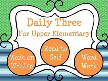 This is a bundle of Daily Three for Upper Elementary resources. This no prep set of materials includes three of my best selling products: Work on Writing Task Cards, Word Work Task Cards, & Read to Self/Independent Reading Folder Resources! Save 15% by purchasing these products together in this comprehensive set-up guide!!