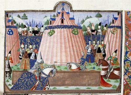 Tournament of Inglevert. From British Library. Detail of a miniature of the tournament of Ingelvert.   Origin: Netherlands, S. (Bruges)