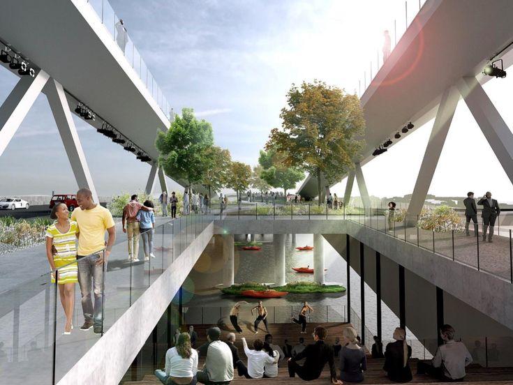 New 11th Street Bridge Park renderings reveal skinnier bridge - Curbed DCclockmenumore-arrownoyes : Expect kayak and canoe launches, plazas, and an environmental education center