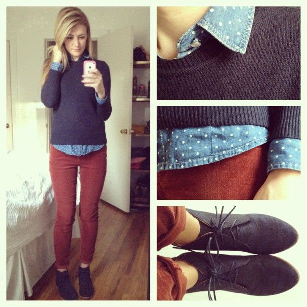 navy sweater over dotted jean collared shirt, burgundy red jeans, and adorable oxfords