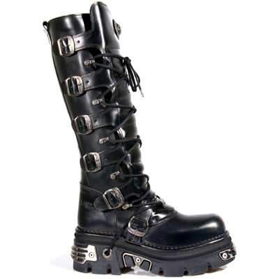 New rock boots black knee length boots with buckles - 272