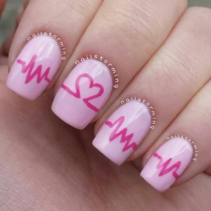 Get somebody's heart racing with this playful EKG design perfect for Valentine's Day. #ValentinesDay #NailArt