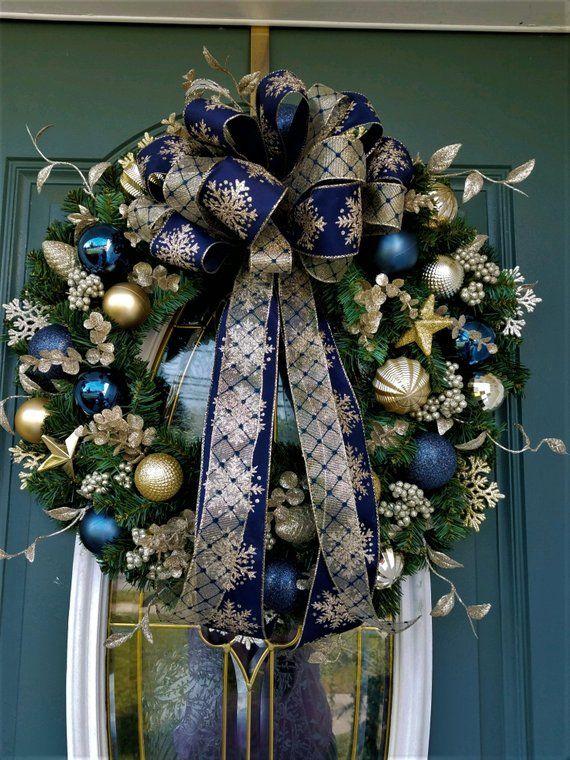 Christmas Wreath Navy Blue And Gold Wreath Hanukkah Wreath Front Door Wreath Christma Christmas Wreaths Gold Christmas Decorations Blue Christmas Decor