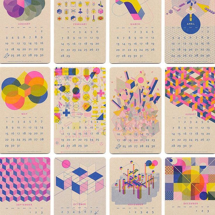 Back for 2016 Paper Pusher's Isometric Risograph Calendar is here! Great for any home office or studio. A perfect combination of fluorescent pink blue and yellow soy-based inks. Printed on recycled oatmeal kraft paper with a tactile vellum finish. by tinyfeast