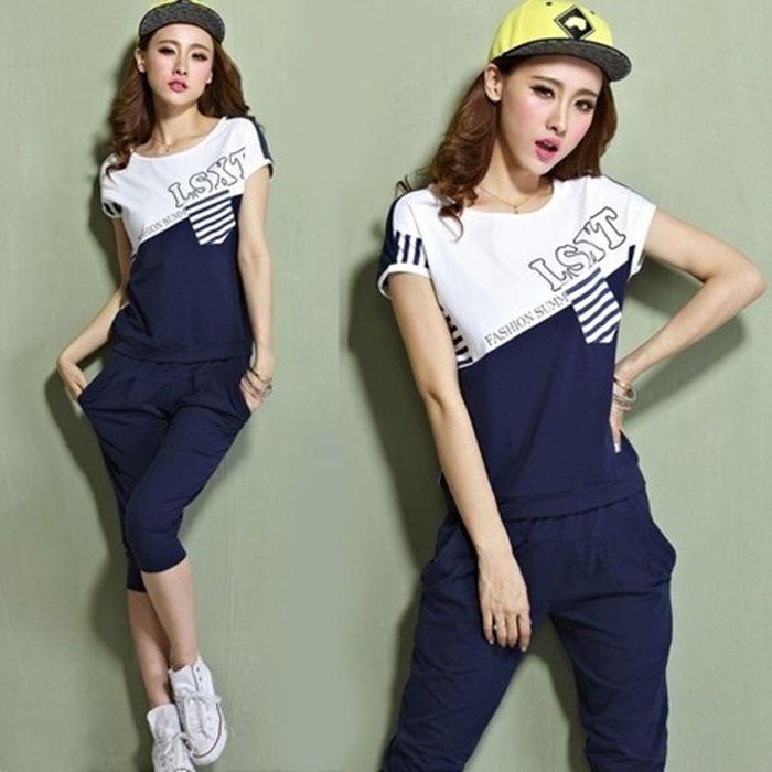 运动套装女夏16新款短袖七分裤宽松大码休闲跑步运动服女装两件套-tmall.com天猫