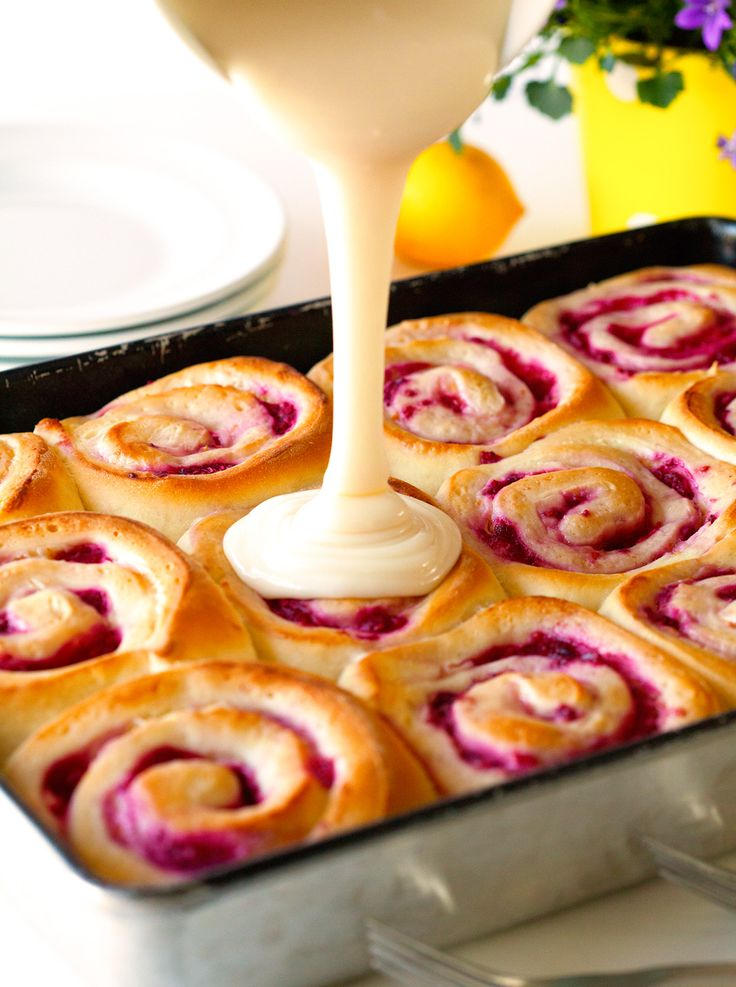 Raspberry Sweet Rolls via Deliciously Yum!