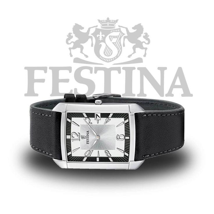 #Festina #Herrenuhr F6748/1 eckige Analoguhr mit klassischem Design in Schwarz / Silber