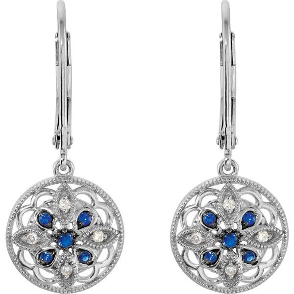 0.07 Carat Ben Garelick Blue Sapphire and Diamond Antique Style Sterling Silver Dangle Earrings