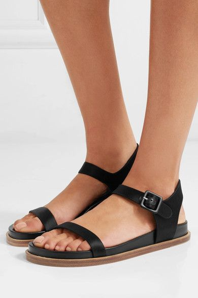 Jil Sander - Satin And Leather Sandals - Black - IT35