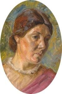 Portrait of Alhed Larsen by Johannes Larsen, 1910