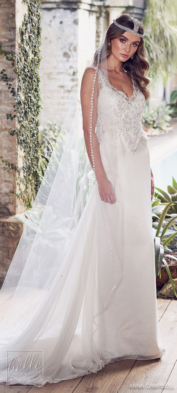 b0a0f36d404b Anna Campbell 2019 Wedding Dresses - Wanderlust Bridal Collection | Fitted  sheath vintage bridal gown with cathedral veil | sleeveless bohemian wedding  gown ...