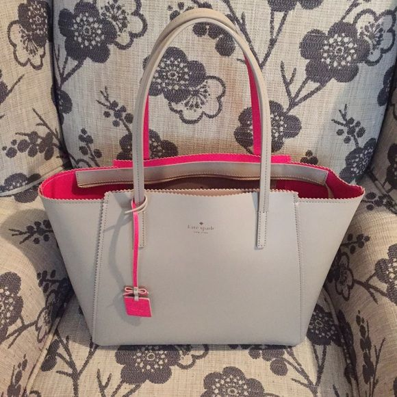 Kate Spade Ivy Drive Large Loryn Taupe with Hot Pink accent bag. NWOT. Used a handful of times but need to find a new home for it. kate spade Bags Totes