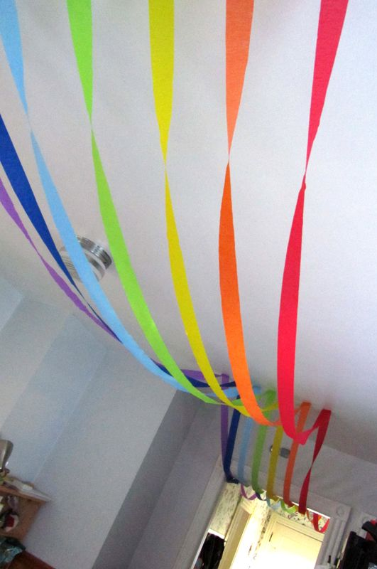 rainbow made out of streamers on the ceiling--rainbow party