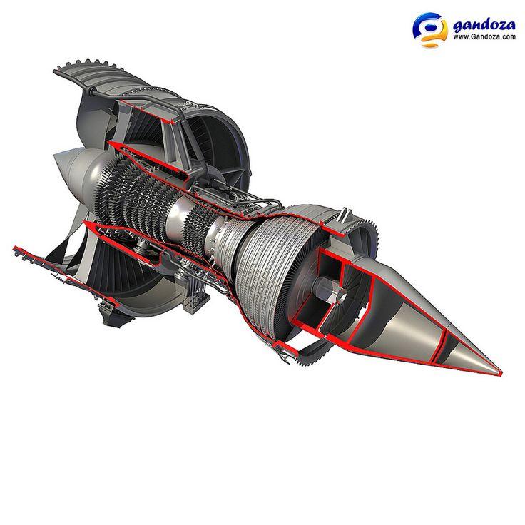 Rolls-Royce Trent 1000 Turbofan Engine Cutaway Model   da Gandoza 3D Models