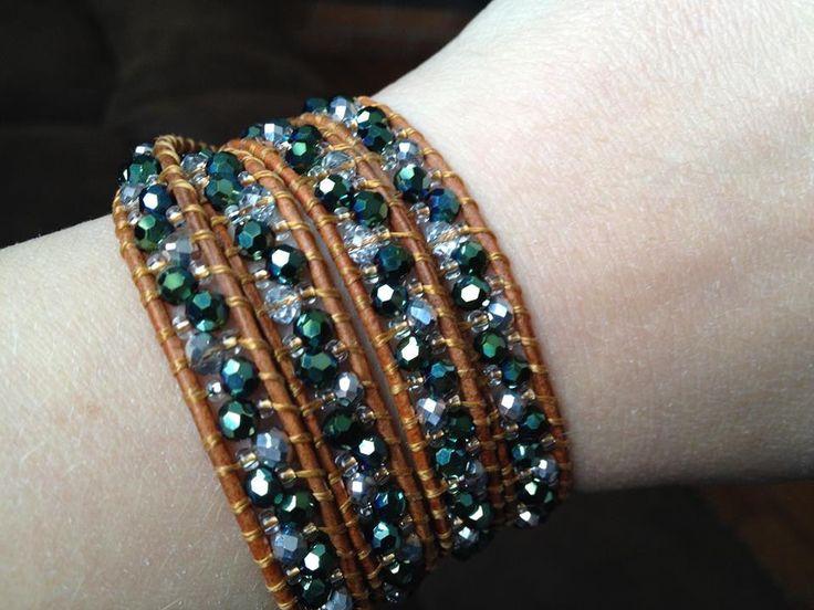 Metallic green and silver wrap bracelet