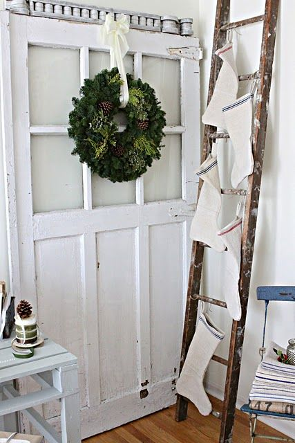 Hang the stockings on a wood ladder for something new in your Christmas decorThe Doors, Grain Sack, Ladders, White Christmas, Christmas Stockings, Christmas Decor, French Larkspur, Hanging Stockings, Christmas Ideas