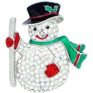 Classic Christmas Snowman Crystal Pin Brooch