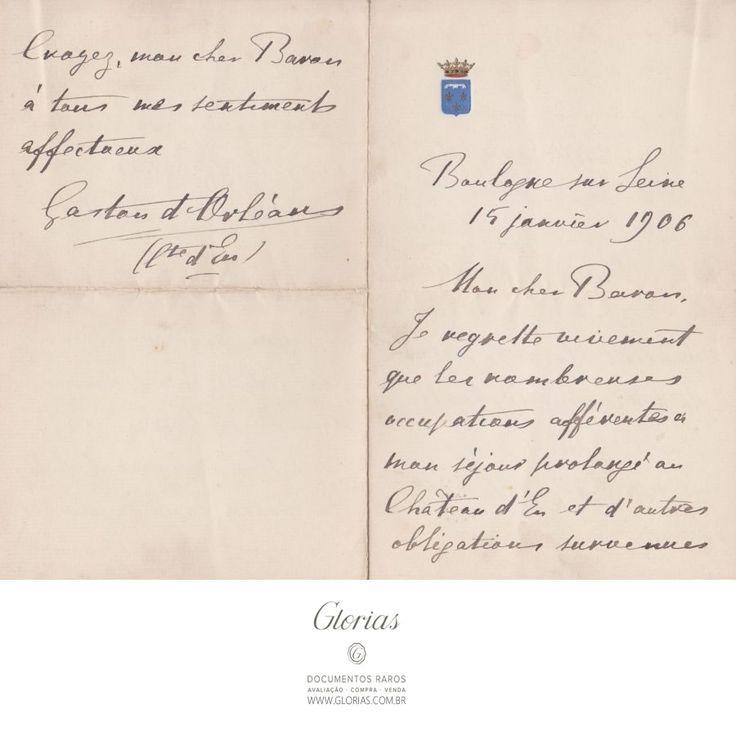Duas cartas manuscritas de Gastão d´Orléans, Conde d´Eu