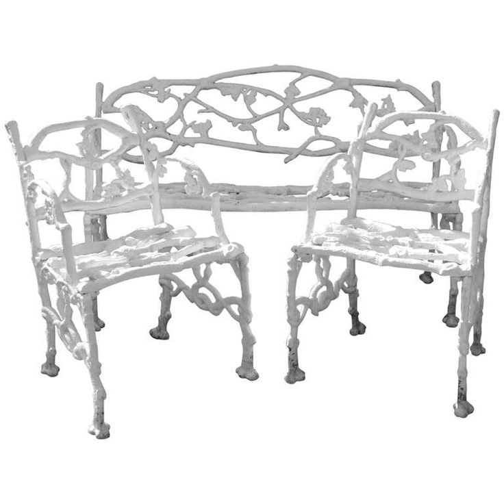 Garden Set Cast Iron Twig Or Rustic Bench And Pair Of Chairs