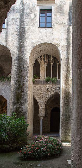 """Villa Rufolo, Ravello, Italy - (1270) built by Nicola Rufolo - The villa was mentioned by Giovanni Boccaccio in his book, """"Decameron"""""""