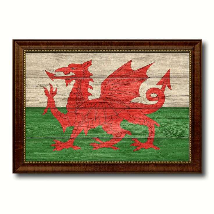 Wales Country Flag Texture Canvas Print with Brown Custom Picture Frame Home Decor Gift Ideas Wall Art Decoration