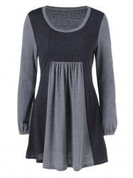 Plus Size Puff Sleeves Longline T-Shirt - GRAY 5XL