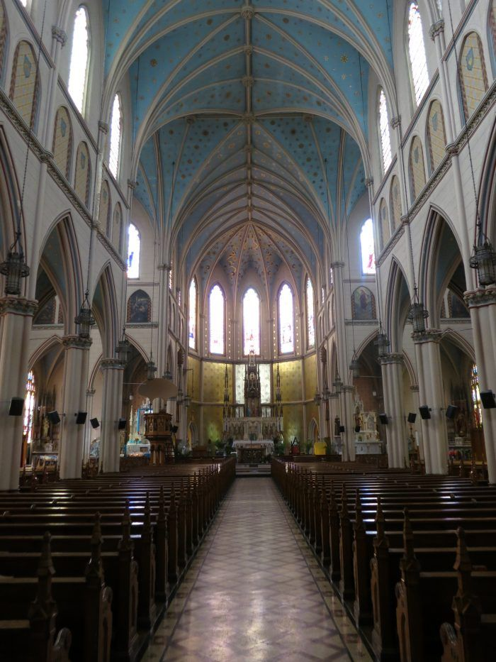 Today, we know the church for its soaring vaulted ceiling designed in the Gothic-Revival style. That building dates back to 1887.