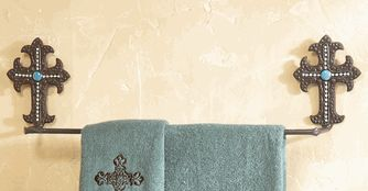 Turquoise Cross Metal Towel Bar