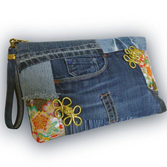 Recycled Old Jeans & Obi Fabric 2-Way Bag Clutch Bag/ door Kazuenxx