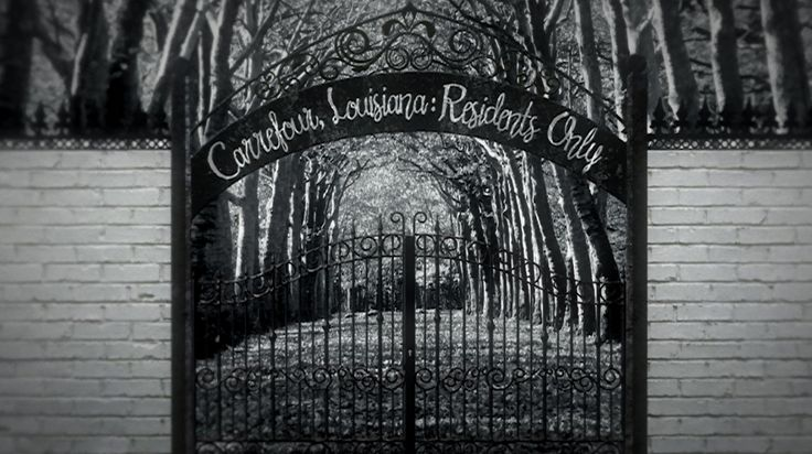"""""""I look up in surprise as we approach an impenetrable looking iron gate. On either side, as far as I can see, a stone wall ten feet tall extends into the swampy forest. Above the gate is a rusted sign that says 'Carrefour, Louisiana: Residents Only' in swirling script."""" - Eveny Cheval in #TheDolls by #KikiSullivan. #YA #YAlit #books #setinLouisiana #Louisiana #gate #gatetoCarrefour #unlockthegates #novel #reading #trilogy #magic #mystery #drama"""