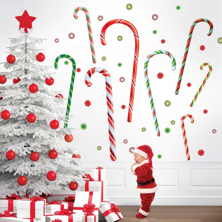 Candy canes wall decals candy canes products and candy for Candy wall mural