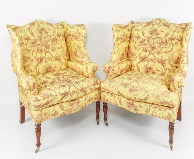 pair of hepplewhite style mahogany and custom upholstered wing back chairs