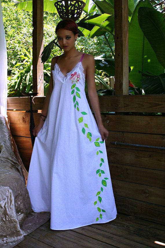 Princess Bride Lingerie Flower Cotton Nightgown Hand Cut Appliqued Shabby Cottage Chic Sleepwear