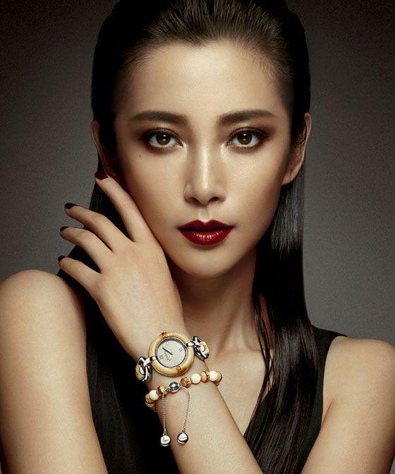 Chinese actress Li Bingbing wearing the Gucci Special Edition Li Bingbing Bamboo Timepiece and Bracelet.