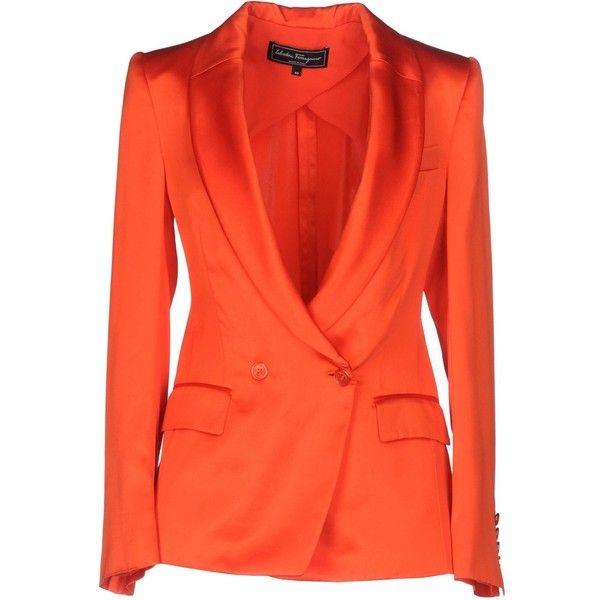 Salvatore Ferragamo Blazer (£600) ❤ liked on Polyvore featuring outerwear, jackets, blazers, orange, red blazer jacket, salvatore ferragamo, red orange blazer, double breasted jacket and red double breasted jacket