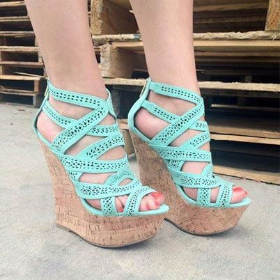 Rhinestone Peep Toe Ultra High Heel Casual Summer Romatic Wedge Sandals