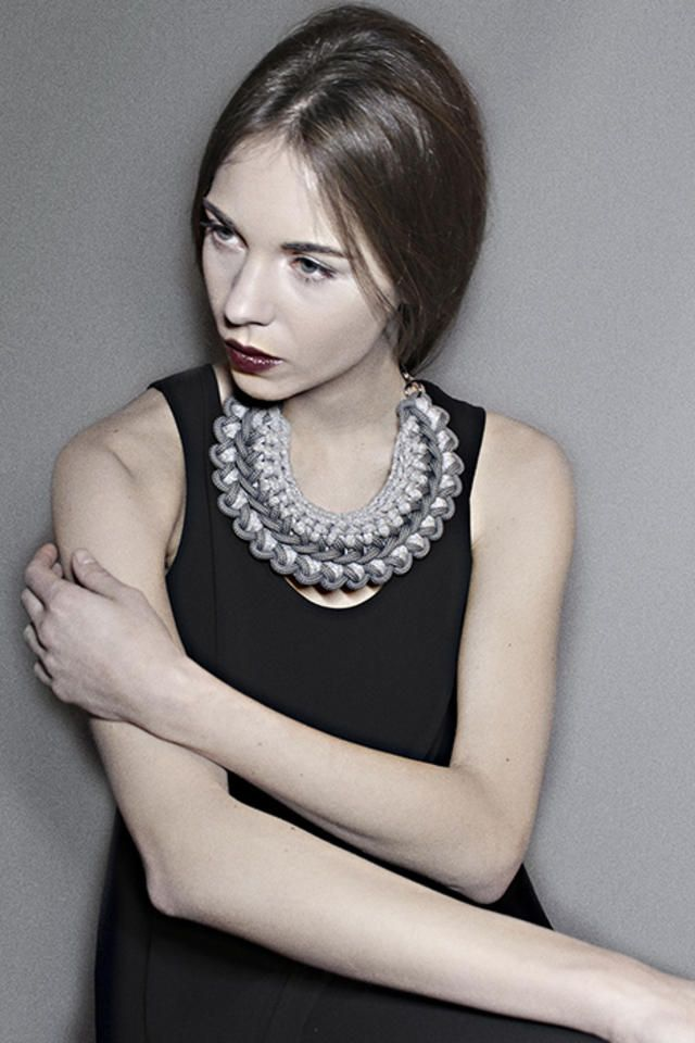 nylon rope and recycled jersey necklace by alienina