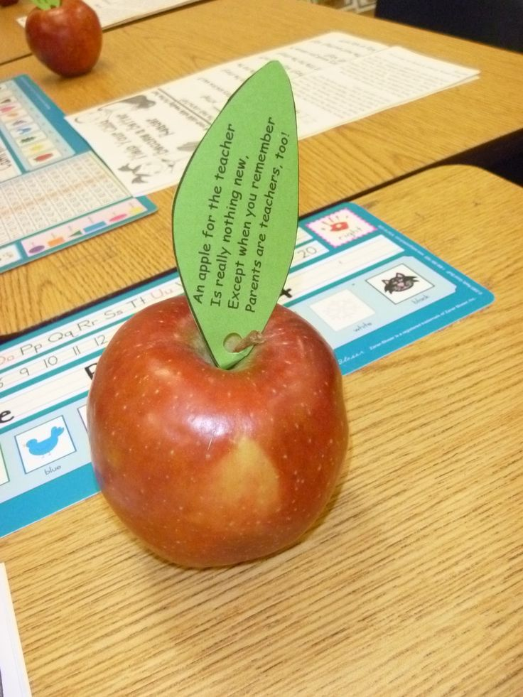 "Give these out at our first parent-teacher conference of the school year. Poem reads: ""An apple for the teacher is really nothing new, except when you remember parents are teachers too."" Parents just love them!"