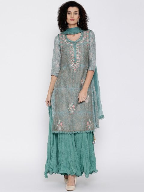 Attending a family function? Look festive with this embroidered and sequined kurta-palazzo set. Leave the ornamented layer at home if you are invited to a literary fest.  Layered and Crushed, green and off-white floral print kurta, kurta with sheer sleeveless layer, kurta with beaded and sequinned detail, kurta-palazzo with green crinkled dupatta with crochet detail along the border