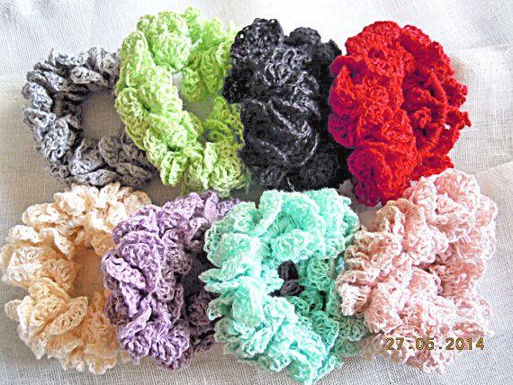Handmade crochet scrunchies  choose your colour by LOLAsHome, $6.50