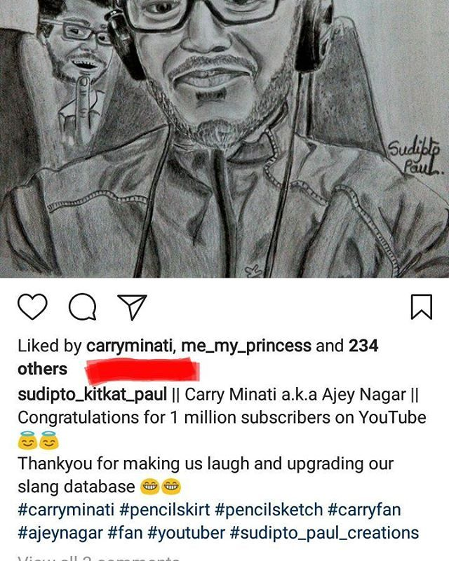 Thankyou Carry minati for liking the sketch... #celebrity #goldenheart #carryminatifan #carryislife #1millionyoutubesubscribers http://tipsrazzi.com/ipost/1511413316117963869/?code=BT5nmc4AaRd