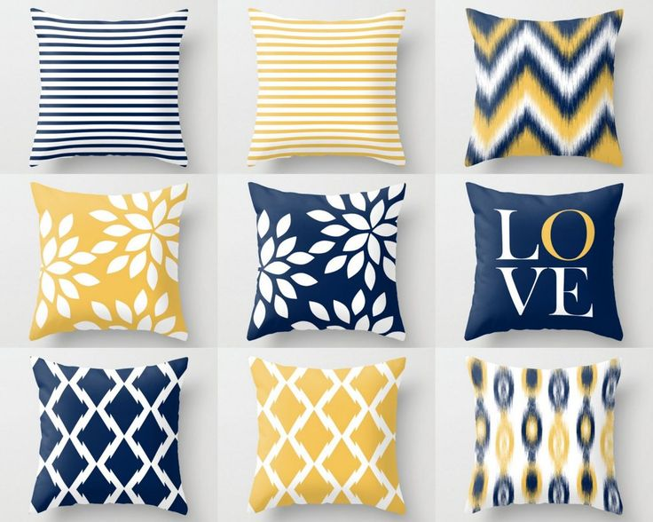 Throw Pillow Covers, Navy Yellow and White (M32) Decorative Pillows
