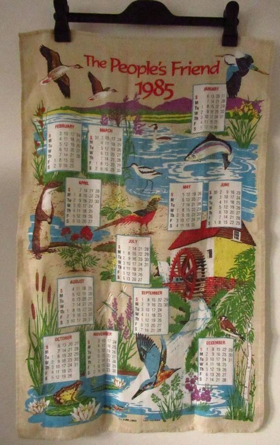 Selection Of Vintage Calendar Tea Towels 1983 1985 1991 1993 2000