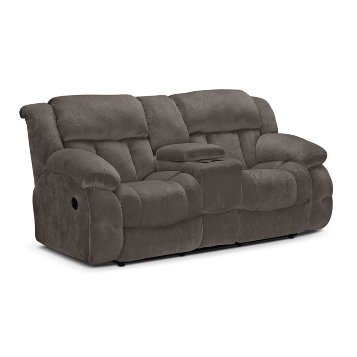 Living Room Furniture - Park City Dual Reclining Loveseat - Gray