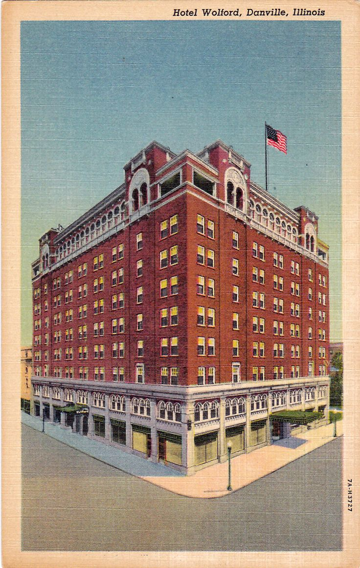 Illinois vermilion county armstrong - Danville Il Hotel Wolford Vintage Linen Postcard Unused