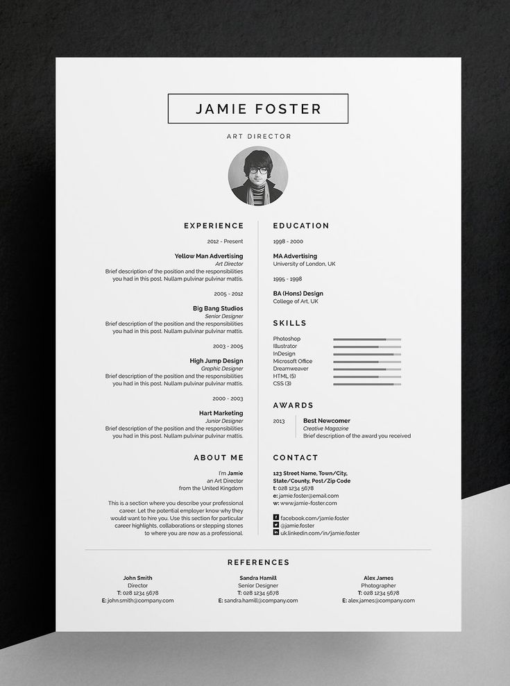 Professional Resume/CV and cover letter template. A beautiful vertical design wi…