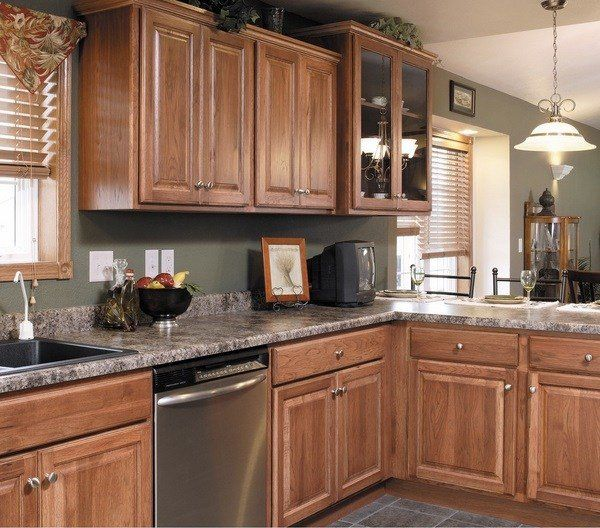 Best Paint For Kitchen Walls: Hickory Cabinets Design Ideas Granite Countertop